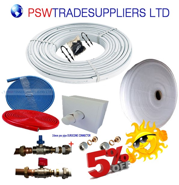 Water Underfloor Heating - Single Room Kit covers 30m² with Pex-Al-Pex Pipe