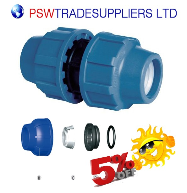 Straight Coupling Compression Fitting for Blue Water/MDPE/Alkathene Pipe